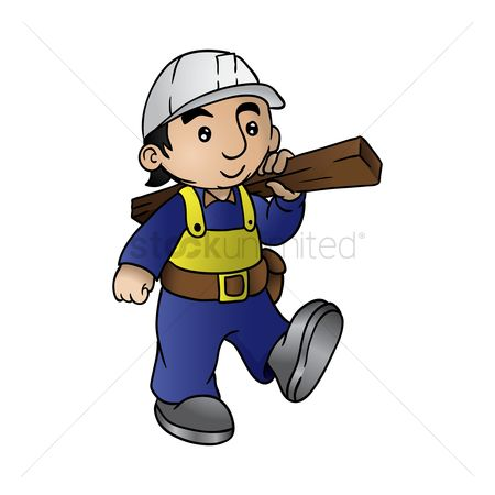 Builder : Construction worker holding a wooden plank