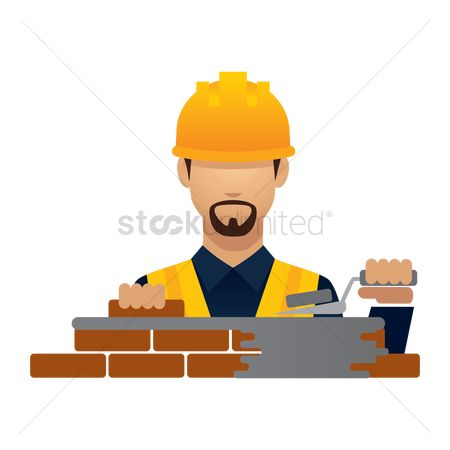 Builder : Construction worker with laying bricks