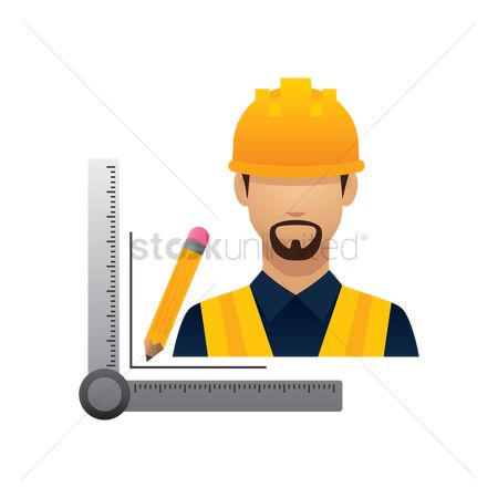 Builder : Construction worker with pencil and triangle ruler
