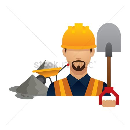 Builder : Construction worker with shovel