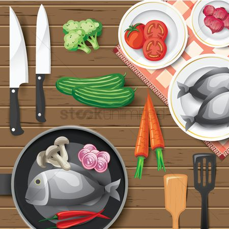 Dishes : Cooking flat lay design