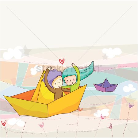 Boys : Couple sitting in paper boat