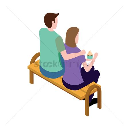 Backview : Couple sitting on bench
