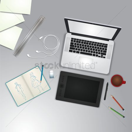 Stationary : Creative design office workspace desk