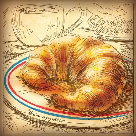 Plates : Croissant with tea cup
