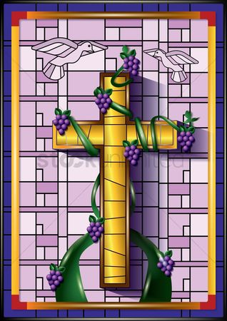 Grapes : Cross with grape vines on a stained glass