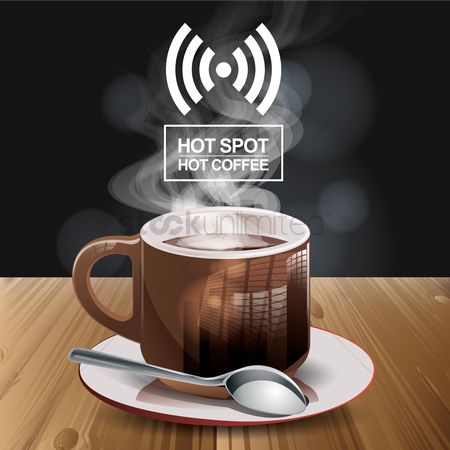 Coffee : Cup of coffee in a cafe with hot spot
