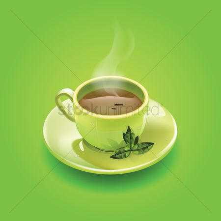 Drinking : Cup of green tea