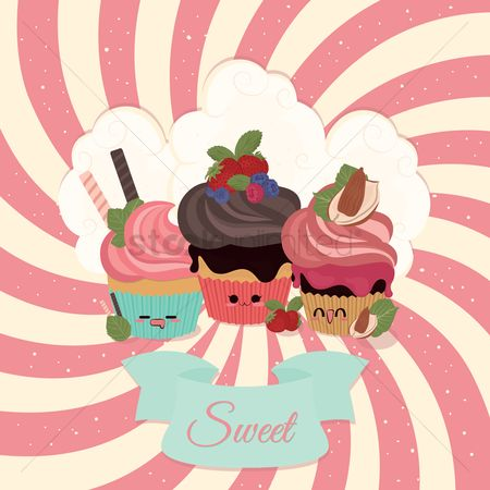 Fruit : Cupcakes with banner