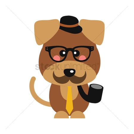 Smoking pipe : Cute dog with hat and smoking pipe
