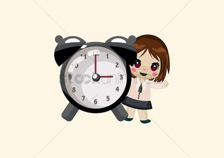 Minute : Cute girl with an alarm clock