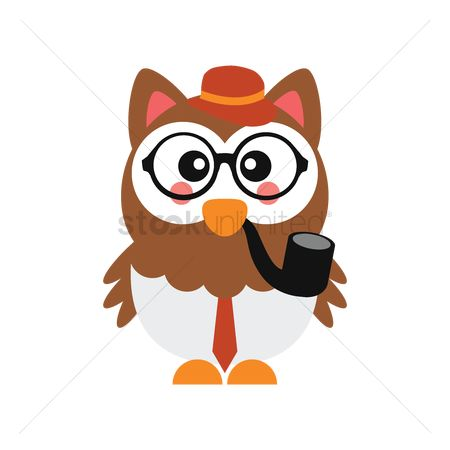 Smoking pipe : Cute owl with glasses and smoking pipe