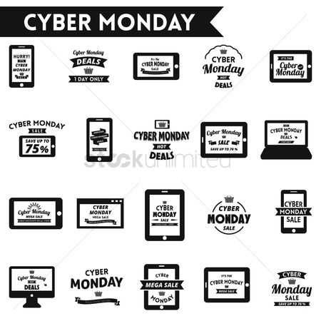 Monday : Cyber monday sale designs set