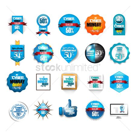 Online shopping : Cyber monday sale icon set