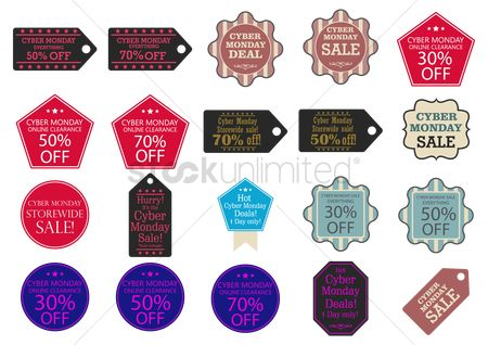 Pentagons : Cyber monday sale tags and stickers