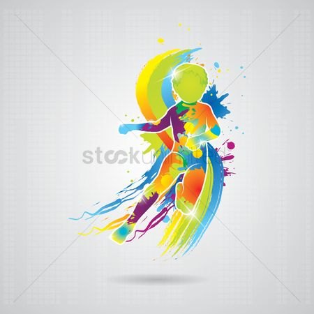 Work : Dancing boy with colorful splash