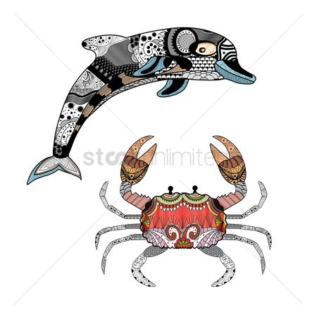 Crabs : Decorative dolphin and crab design