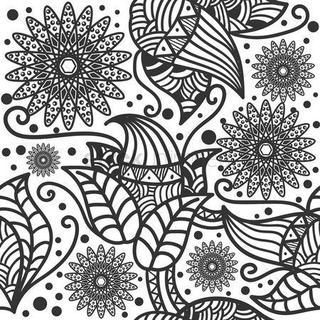 Sketching : Decorative flower wallpaper