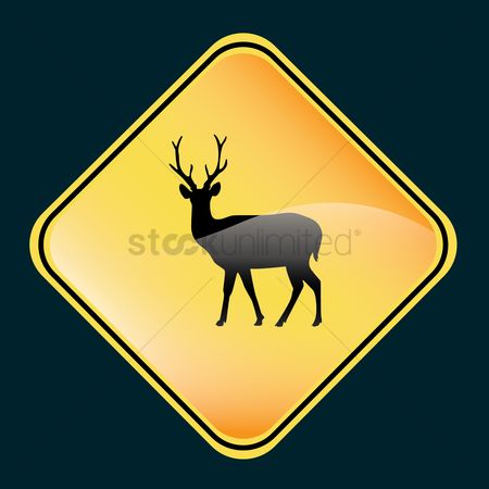 Attention : Deer crossing sign