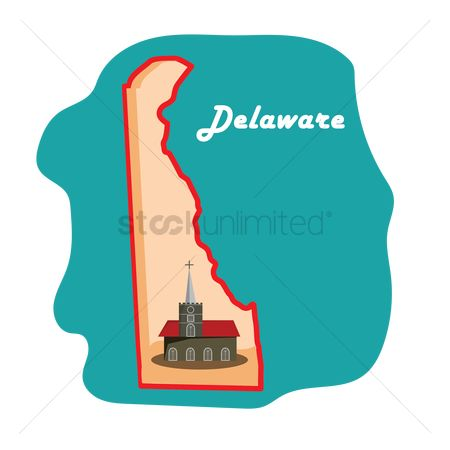 Delaware : Delaware state map with immanuel episcopal church