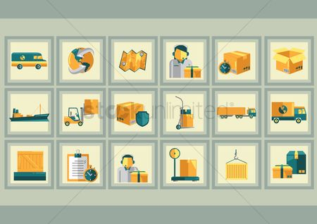 Fork lift : Delivery icons