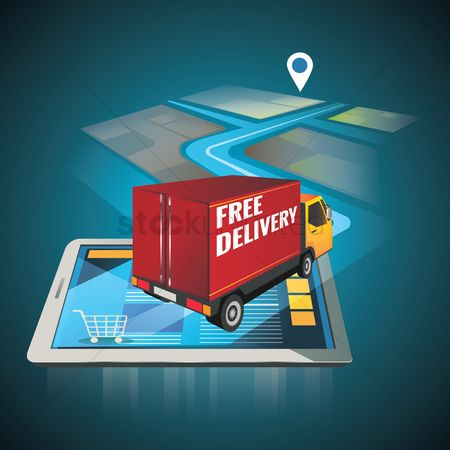 Map pointer : Delivery truck with navigation pointer