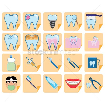 Tooth with braces : Dental hygiene vectors