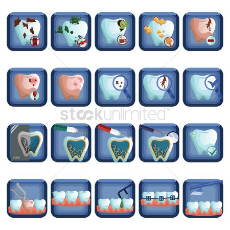 Tooth with braces : Dental icon set