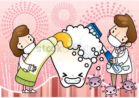 Staffs : Dental staff cleaning the tooth