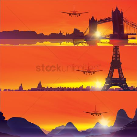 Towers : Design of plane flying over famous landmarks