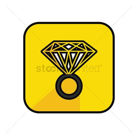 Engagements : Diamond ring on yellow background