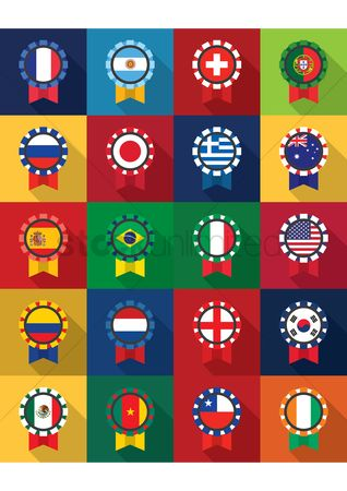 Medal : Different countries flags