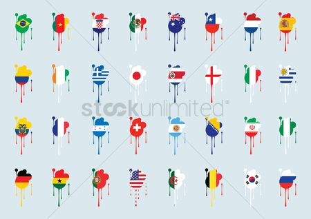 Belgium : Different countries flags