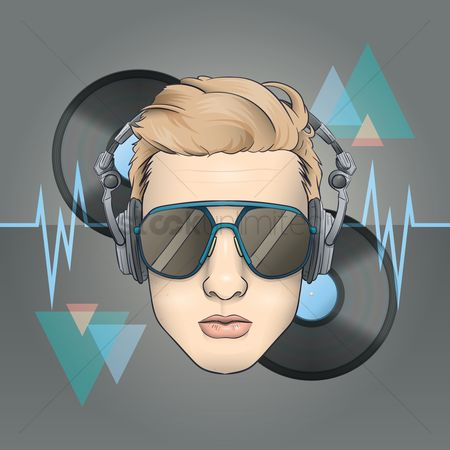 Audio : Dj with headphones on