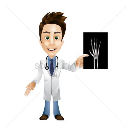 Xray : Doctor holding an x-ray of a hand