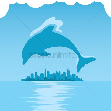 Dolphins : Dolphin with cityscape background design