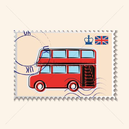 Tyre : Double-decker bus postage stamp