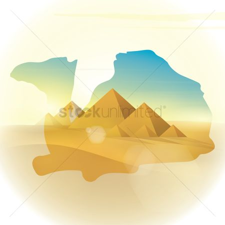 Monuments : Double exposure camel and desert