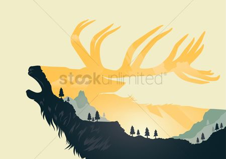 Mountains : Double exposure of animal silhouette and forest