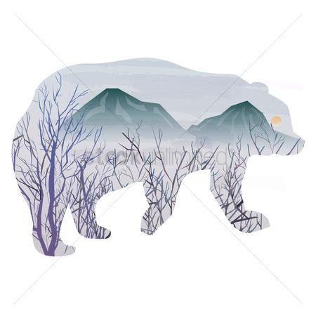 Moon : Double exposure of bear and nature