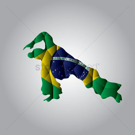Acrobats : Double exposure of capoeira and brazil flag