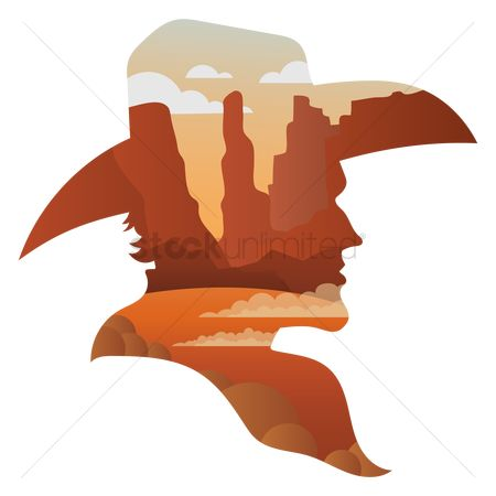 Cowboys : Double exposure of cowboy and desert