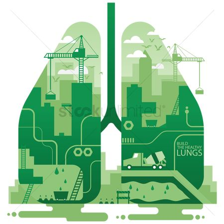 Towers : Double exposure of lungs and mining site