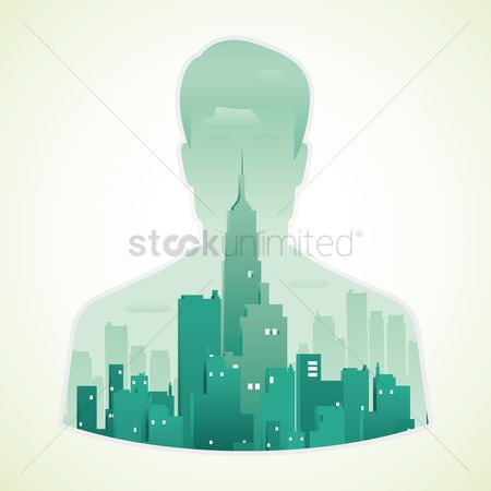 Buildings : Double exposure of man and city
