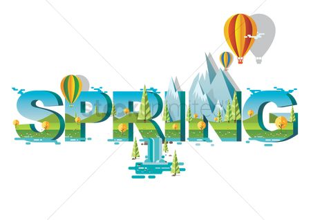 Hills : Double exposure of nature landscape and spring text