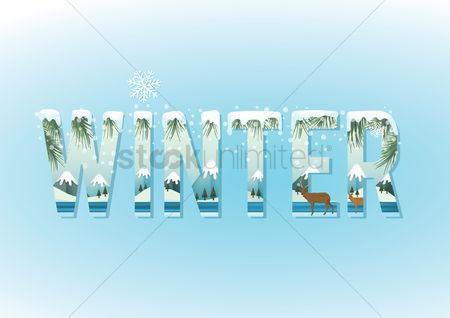Combine : Double exposure of snow forest and winter text