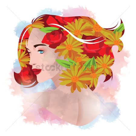 Double exposure : Double exposure of woman and flower