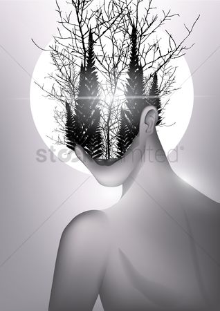 Combine : Double exposure of woman and forest