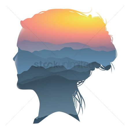 Double exposure : Double exposure of woman and scenery