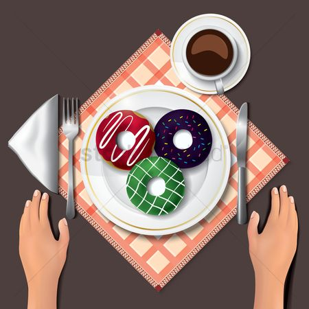 Coffee cups : Doughnuts on table with hands